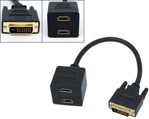 DVI-D Male to Dual HDMI Female Converter Splitter Cable - 1ft