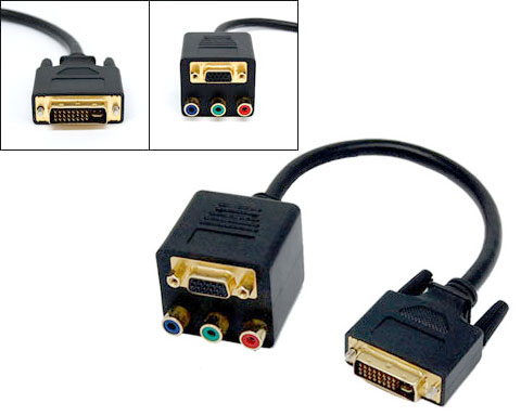DVI-I 24+5 Male to VGA Female and 3 RCA component Adapter Splitt