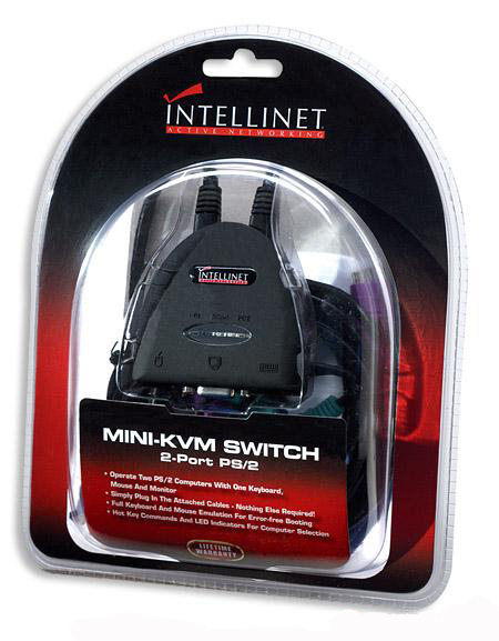 INTELLINET Mini KVM Switch  2 Port PS/2