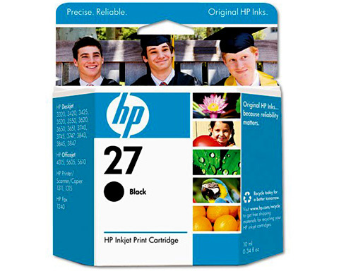 HP No. 27 Black Inkjet Print Cartridge - C8727AN