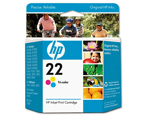 HP No. 22 Tri-Color Cyan, Magenta, Yellow Ink Cartridge - C9352A