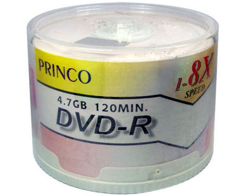 Princo Blank DVD-R 8x, 4.7GB / 120Min Inkjet Printable - 50 Pack