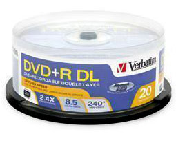 Verbatim 8.5GB 2.4X DVD+R DL 20 Packs Branded Disc 95310