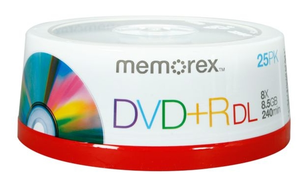 memorex 8.5GB 2.4X to 8X Write Speed DVD+R DL 25 Packs