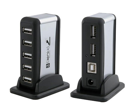 Eforcity 7 Port LED USB 2.0 Hub w/ AC Adapter & USB Cable, Black