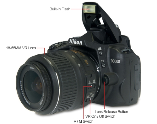 Nikon D3000 DSLR Digital Camera and 18-55MM VR Lens - 10.2 Megap