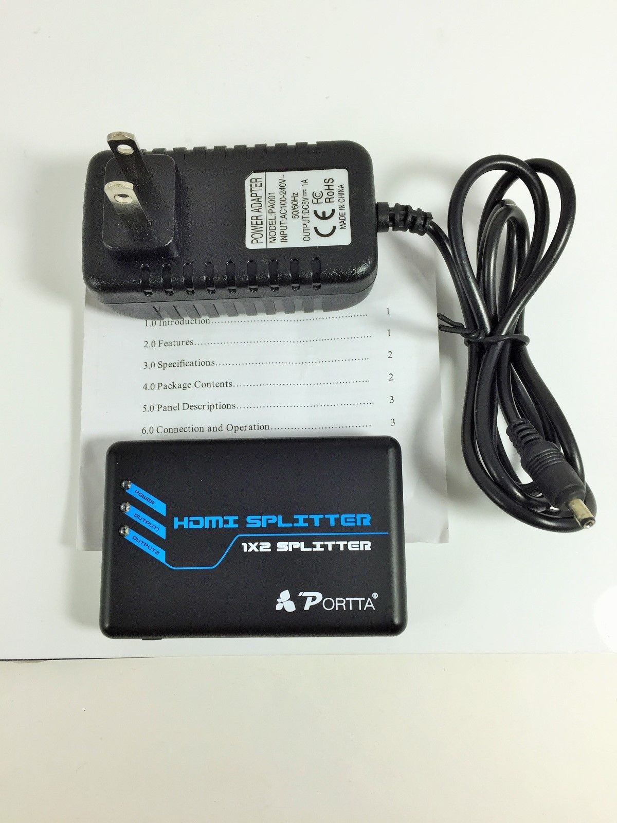 HDMI SPLITTER 1 X 2 with Power supply