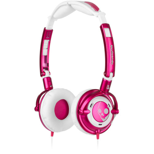 Skullcandy Lowrider Pink/White w/Mic On Ear Headphones - S5LWCY-